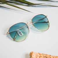 Escalate Large Frame Sunnies, Gold/Green