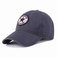 Converse Fashion New Embroidery Women Men Leisure Sunscreen Travel Hat Gray