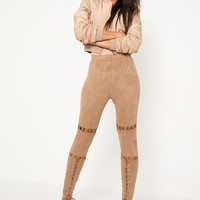 Missguided - Nude Eyelet Knee Lace Up Detail Leggings