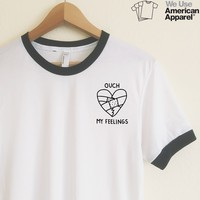 AA Ouch My Feelings Ringer Tee