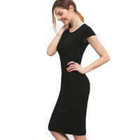 Women's Knee Length Short Sleeve Dress
