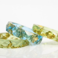 lime green resin ring | size 6.5 thin multifaceted eco resin ring | lime green resin with gold leaf flakes