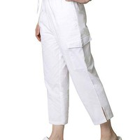 Buy Adar Womens White Two Pocket Cargo Medical Scrub Pants for $14.95