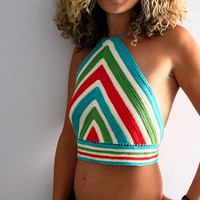 Chevron striped crochet halter top, Naxos, festival wear, spring top, summer top, in turquoise, green, red, ivory stripes