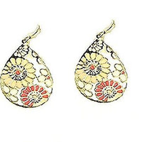Basket Hill, Black & White Flowers or Pink and Yellow  Dangle Earrings