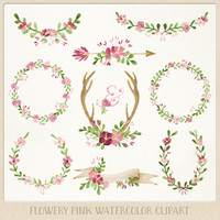 Watercolor Clipart Pink Wreaths, Laurels, Banner, Flowers, Ampersand, Antlers, Arrow perfect for Floral wedding invitations wall art & more