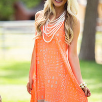 Tribal Designed High Low Dress Neon Orange