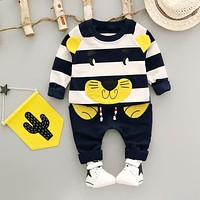 Baby Boy Clothing Set New Autumn 1-3 year 2017 Fashion Style Cotton O-Neck full Sleeve Strip Lion Boys Clothes Set A266