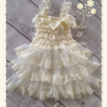 Ivory Lace Flower Girl Dress - Flower girl dress - Rustic - Country Flower Girl Dress - Baby Lace Dress -  Junior Bridesmaid