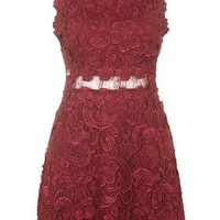Structured Lace Skater Dress - Berry Red