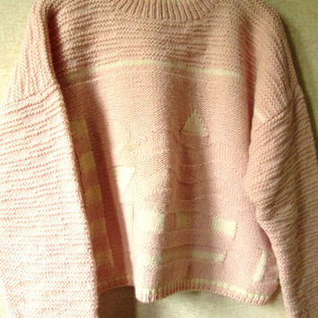 Oversized Sweater pink wool vintage 80s baggy loose boho pullover mori girl clothing hipster sweater women large mock turtleneck