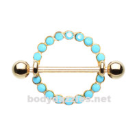 Pair of Golden Orbital Turquoise Nipple Shield Ring 14ga