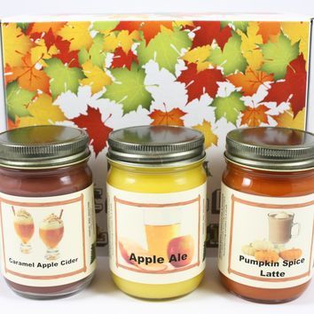 """Fall Scented Candle Collection Set, """"Fall Breakfast"""" - Pumpkin Spice Latte, Apple Cider Donut, Pumpkin Pancake, Three 12 Ounce Candles"""