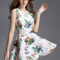 Vintage Floral and Animal Print Skater Dress