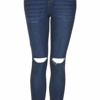 MOTO Vintage Wash Ripped Leigh Jeans - Mid Stone
