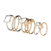H&M - 8-pack Rings - Gold/Silver - Ladies