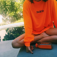 "Orange ""Pablo"" Letter Print Long Sleeve Sweatshirt"