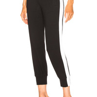 Norma Kamali Side Stripe Jog Pant in Black & White | FWRD