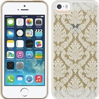 Thousand Eight(TM) APPLE IPHONE 5 5S Design Slim and stylish profile Lace CRYSTAL RUBBER CASE + [FREE LCD Screen Protector Shield(Ultra Clear)+Touch Screen Stylus] (Lace WHITE)