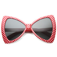 Super Fun Polka Dot Oversize Bow Tie Sunglasses 9954