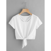 V Strap Neck Knot Front Crop Tee White