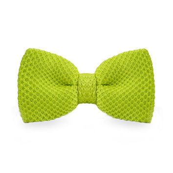 New Arrival Knitted Crochet Men`s Adjustable Yellow Green Solid Neck wear For Men Party Bussiness