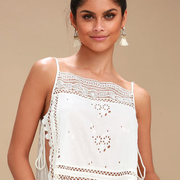 Garden Party Ivory Embroidered Cami