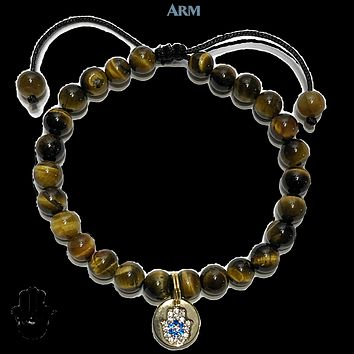 HAPPY GO LUCKY | Tiger Eye | CZ Diamond Pave Hamsa Hand | Adjustable Pull Tie Bracelet