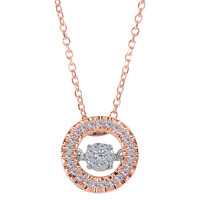14k Rose Gold Round Shaped Dancing Diamonds 18 Inch Necklace - 0.10ct. Diamond