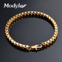 Modyle 2018 New Fashion 4MM Box Chain Bracelet for Men Braclets & Bangles Punk Rock Jewelry