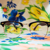 The Draper II | Vintage Shiny Tortoise Plastic Clubmaster Clear Glasses Sunglasses Retro