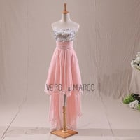 Baby pink sweetheart neckline ruched high-low summer A-line plus sized sequins chiffon cocktail party dress prom dress ET253