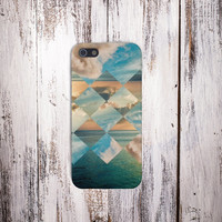 Geometric Clouds x California Ocean Case for iPhone 5 iPhone 5S iPhone 4 iPhone 4S and Samsung Galaxy S5 S4 & S3