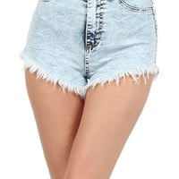 Light Blue High-waisted Stone Wash Denim Shorts