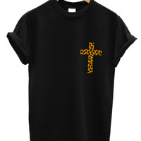 Leopard print cross black t shirt