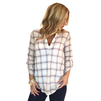 Roll Up Your Sleeves Plaid Blouse