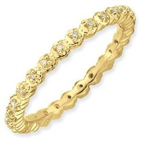 Sterling Silver Stackable Expressions Diamond Gold-plated Ring