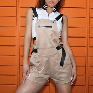Women Casual Fashion High Waist Sleeveless Back Strap Leisure Pants Romper Jumpsuit Shorts
