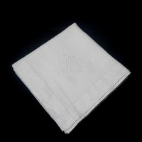 """1960s White Linen Tablecloth for Card or Bridge Table Monogram """"ISM,"""" Hand Embroidery, 40 x 41 Inches, Vintage Linens, Tablecloths, Upcycle"""