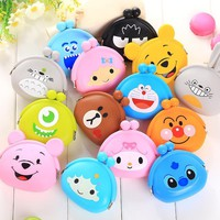 2017New Fashion Lovely Kawaii Candy Color Cartoon Animal Women Girls Wallet Multicolor Jelly Silicone Coin Bag Purse Kid Gift