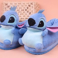 Girls & Ladies Cute Stitch Novelty Slippers Warm Winter Daily Women Shoes with Anti-slip Sole, Blue