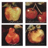 Paragon Assortment of Fruit (Apple, Cherry, Pear and Orange) Set of Four Canvas Art - Etienne - 9040 - All Wall Art - Wall Art & Coverings - Decor