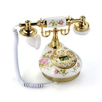 VivReal® Retro Vintage Antique Style Flower Ceramic Home Decor Desk Telephone Phone