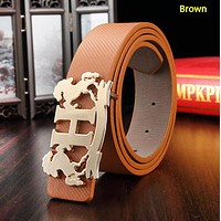 Hermes New fashion H letter horse buckle couple belt Brown