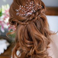 Rose Gold Crystal Fern Headpiece Comb Crystal Twig Bridal Hair piece Copper Rhinestone Hair Comb Crystal Bridal Hair Accessories, STYLE 157