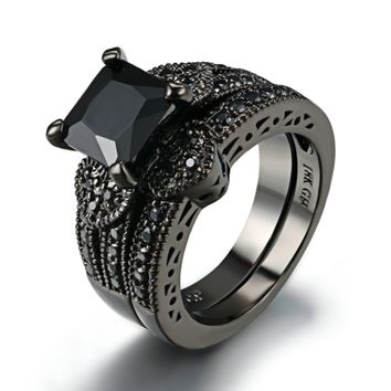 18K Black Gold Plated Twilight Hearts 3CT Princess Cut Black CZ Solitaire Engagement Ring Set for Woman