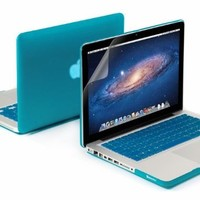"""3 in 1 Aqua Blue Matte Rubber Coated See-thru Hard Case Cover for Aluminum Unibody 13.3"""" Inches Macbook Pro - With Aqua Blue Silicon Keyboard Protector - 13 Inches Clear LCD Screen Protector"""