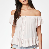 LA Hearts Button Front Off-The-Shoulder Top at PacSun.com