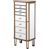 "Florentine 18""x12""x41"" 7-Drawer Mirrored Jewelry Armoire, Gold"