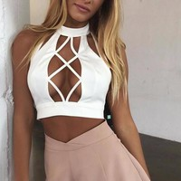 Coralisa Cut-Out Front Crop Top